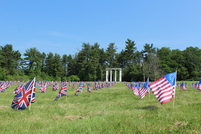 534 flags line the Princeton Battlefield, one for each soldier killed, wounded, or captured at the January 3, 1777 Battle of Princeton.