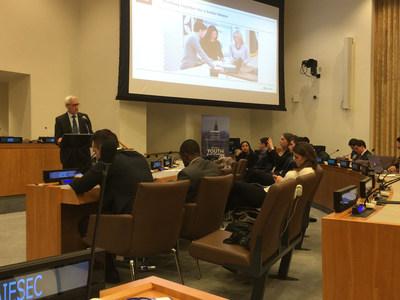 Henrik Sundstrom, VP of Sustainability Affairs, Electrolux, addresses United Nations conference.