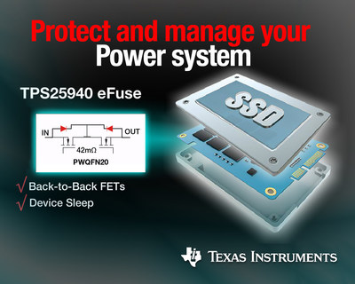 Industry's smallest 18-V eFuse power protection switch efficiently defends systems (PRNewsFoto/Texas Instruments)
