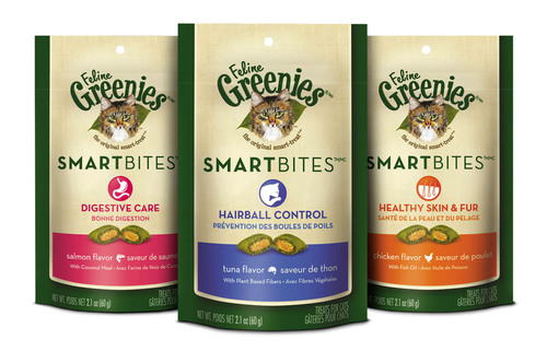 Introducing FELINE GREENIES(R) SMARTBITES(TM) Treats, a new line of irresistible cat treats that provide targeted health benefits. Health-specific formulas include Hairball Control, Digestive Care and Healthy Skin & Fur.  (PRNewsFoto/The GREENIES Brand)