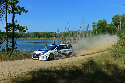 Subaru Driver David Higgins Overcomes Extreme Adversity to Finish 2nd Overall at the Ojibwe Forests Rally.  (PRNewsFoto/Subaru of America, Inc.)