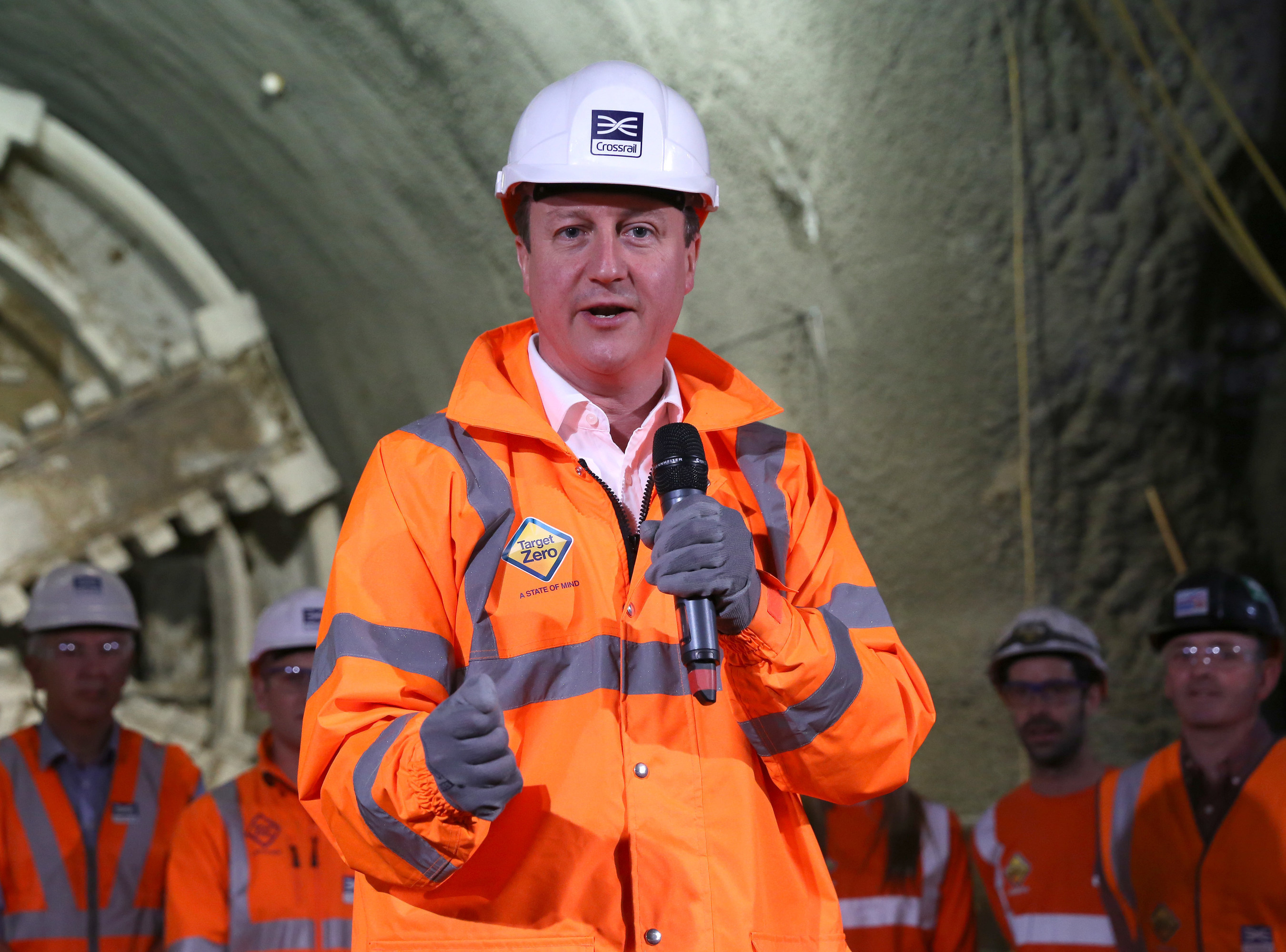 The Prime Minister of the United Kingdom, David Cameron MP, celebrates the completion of Crossrail's tunneling marathon