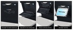 TabCaddy(TM) for leather back airline seats, adjustable for best viewing angle. Ready to hold tablets of all sizes. By Skycast Solutions.    (PRNewsFoto/Skycast Solutions)