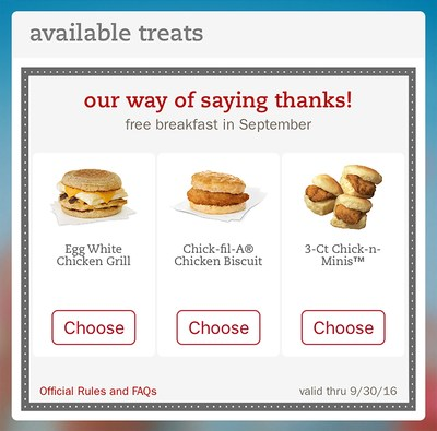 Any customer who downloads (or updates) the Chick-fil-A One app through September 10 will receive an offer for a free breakfast entree, redeemable through September 30.