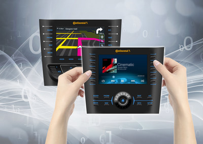 Continental's ultra thin Adaptable Faceplate is 17 millimeters thin and allows for a swift exchange of products and open configuration of various software buttons by the driver.