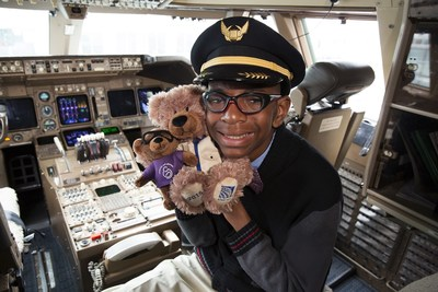 It's Bear Hug Season at United Airlines. Donate to the March of Dimes & deliver teddy bears to deserving kids. Here is the 2015 March for Babies National Ambassador Elijah Jackson with the bear named in his honor and Ben Flyin.