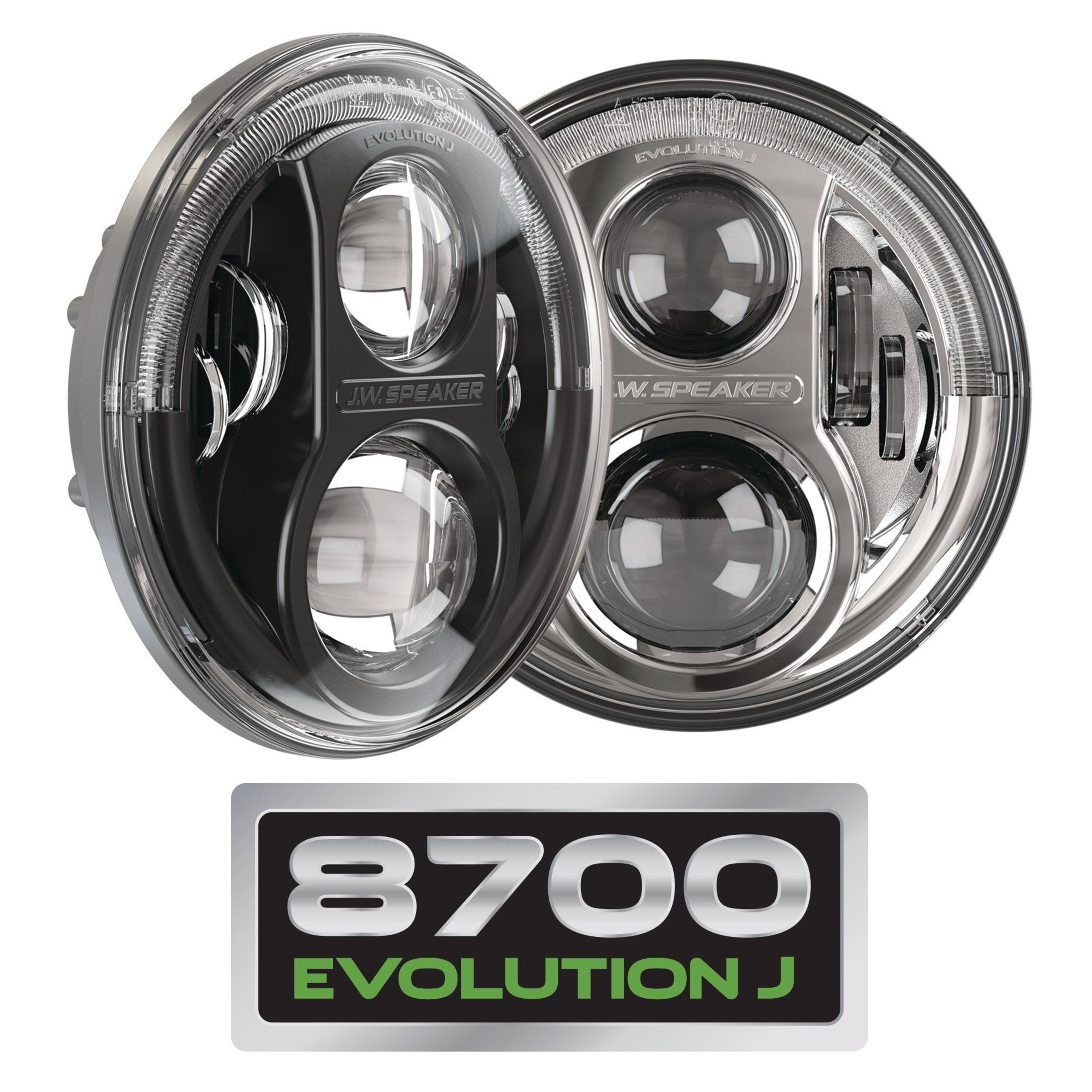 """J.W. Speaker is proud to announce the release of several new, off-road 4x4 LED lighting products coming out this Summer. We have added a new versions of our 7"""" round headlight, 4"""" round fog lights, an all-new tail light, and redesigned auxiliary lights. Photo features our Model 8700 Evolution J LED Jeep Headlights with improved design eliminating the need for an Anti-Flicker Harness. Visit our website to see the full series: www.jwspeaker.com/products/led-worklights-model-518/1300392/"""