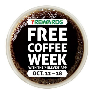 7-Eleven(R) 7Rewards(TM) Free Coffee Week runs from Monday, Oct. 12, through Sunday, Oct. 18, and includes a FREE any-size hot beverage every day through the 7-Eleven app.