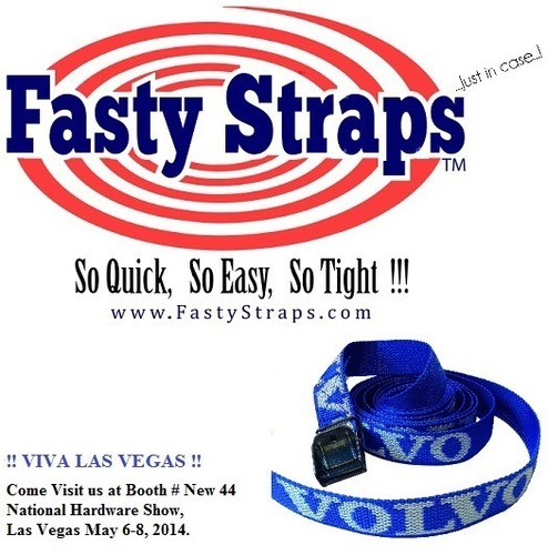 """http://www.FastyStraps.com -   Fasty Straps™ are the easiest, quickest, strongest  """"light load"""" tie down strap ever made, and is the only tie down in the world with a LIFETIME REPLACEMENT GUARANTEE.  !!!!!!!! NOW AVAILABLE IN NORTH AMERICA !!!!!!!!! Precision engineered and manufactured in Sweden for 30 years to Volvo standards -Fasty Straps™ carries the prestigious ISO, TUV (OSHA LAB) manufacturing certificates, making it the world's most """"decorated"""" tie down... see our website for more information!! (PRNewsFoto/Fasty North America, Inc.)"""