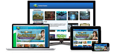 Big Fish Instant Games is the first cloud gaming service to deliver its entire catalog of 200 games to all four screens -- TV, PC, Smartphone, and tablet. Now you start a game at home on your TV, pick it up where you left off on your PC at work, or continue on the road on your Android Smartphone or tablet.  (PRNewsFoto/Big Fish)