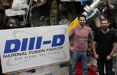 HOT TIMES FOR INTERNS: College senior Ryan Chaban, right, with mentor Dr. David Pace, spent his summer working on fusion technology at GA (Photo by GA)