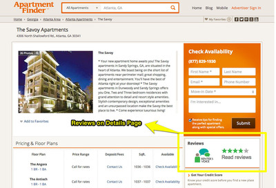 A new widget on apartment listings on ApartmentFinder.com directs apartment shoppers to easily view up-to-date, objective comments posted on leading apartment rating and review site Renter's Voice.  (PRNewsFoto/Network Communications, Inc.)