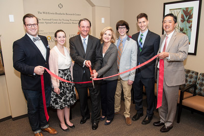 The official ribbon-cutting ceremony for the Will Erwin Headache Research Center took place on Feb. 16. Pictured from left to right: Reynolds Lawnin, Brittany Erwin Lawnin, Jimmy Erwin, Pam Erwin, Robb Erwin, Dr. Mark Burish and Dr. Dong Kim.