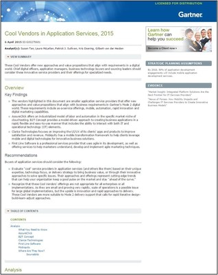 Gartner Cool Vendor App Services 2015.  First Line Software, a leading provider of custom software development and technology enablement services, announced today that it has been listed in Gartner's Cool Vendors in Application Services, 2015 report, published by Susan Tan, Laura McLellan, Patrick J. Sullivan, Kris Doering, Gilbert van der Heiden, on April 6, 2015.
