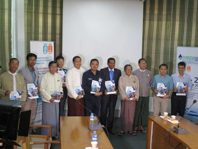 Representatives from MyanmarWater 2016 and Renewable Energy Myanmar participating companies and supporting agencies including Yangon City Development Committee (YCDC), Myanmar Engineering Society (MES), Myanmar International Consulting Engineering Group (MICEG), Representative from Israeli company, Manila Water Company Inc., Deutsche Gesellschaft fur Internationale Zusammenarbeit (GIZ) GmbH, JFE Engineering Corporation and Care Freight Services.