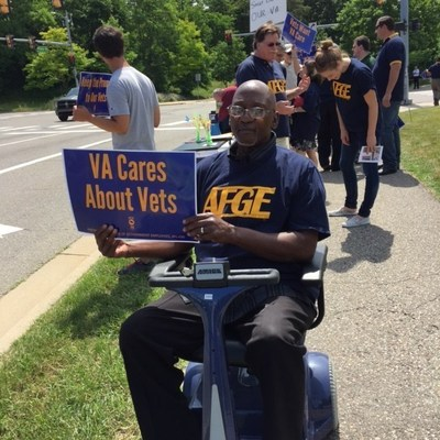 AFGE members and veterans gathered at the VA Ann Arbor Healthcare System to rally against the proposed closing of VA medical centers nationwide.
