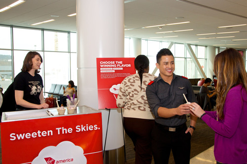 Virgin America Flyers at SFO T2 vote on custom ice cream flavor designed by Humphry Slocombe.  ...