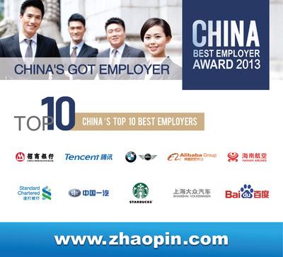 Zhaopin.com Announces China's Top 10 Best Employers Awards Winners 2013.  (PRNewsFoto/Zhaopin.com)