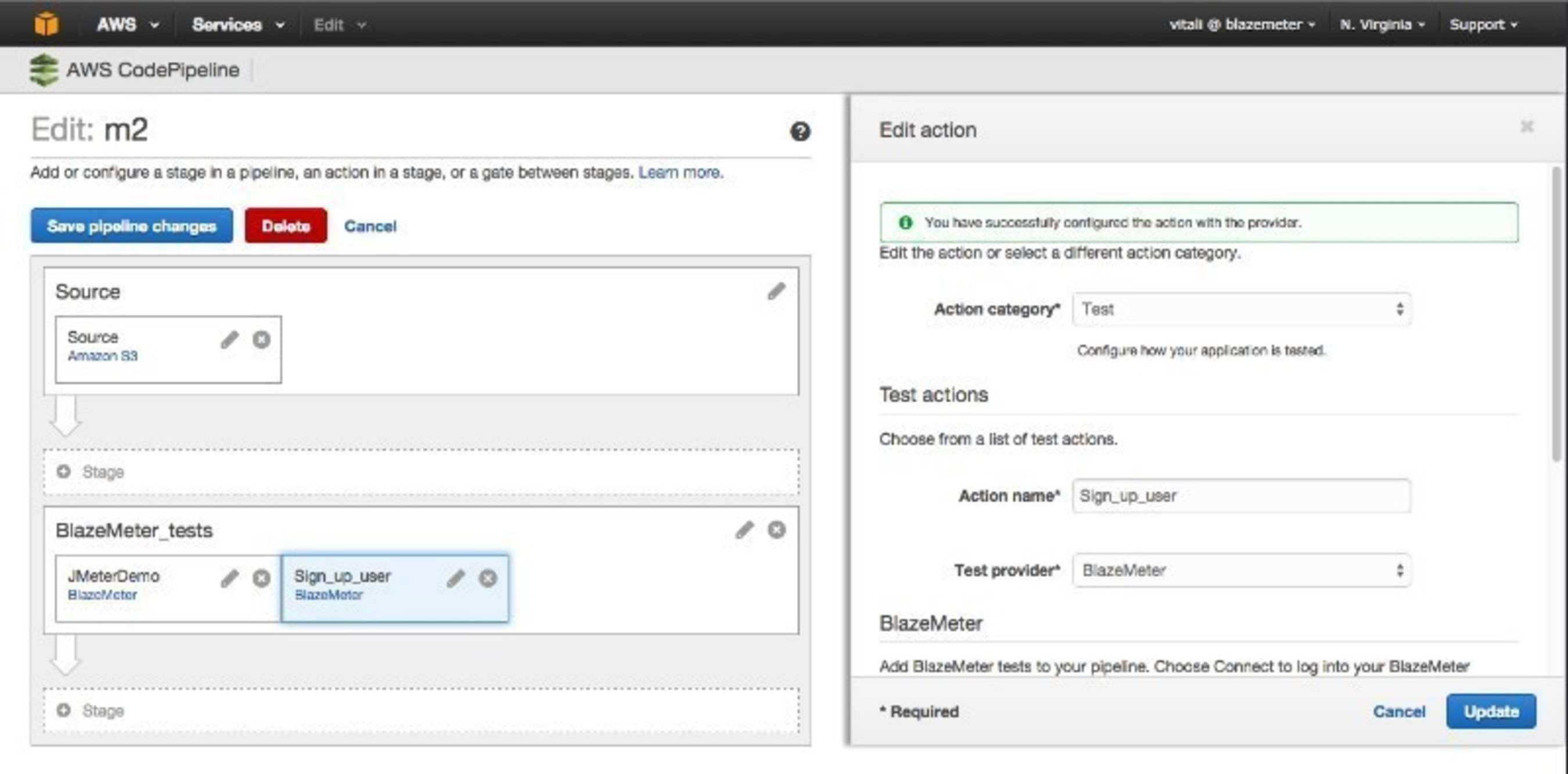 AWS CodePipeline and BlazeMeter Continuous Performance Testing