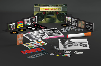 "Designed and compiled by The Clash, the deluxe ""Sound System"" box set features all five of the band's studio albums remastered, plus three CDs of rarities, a DVD, Clash fanzines, a poster, dog tags, stickers, badges, and more. For more information visit www.TheClash.com.  (PRNewsFoto/Legacy Recordings)"