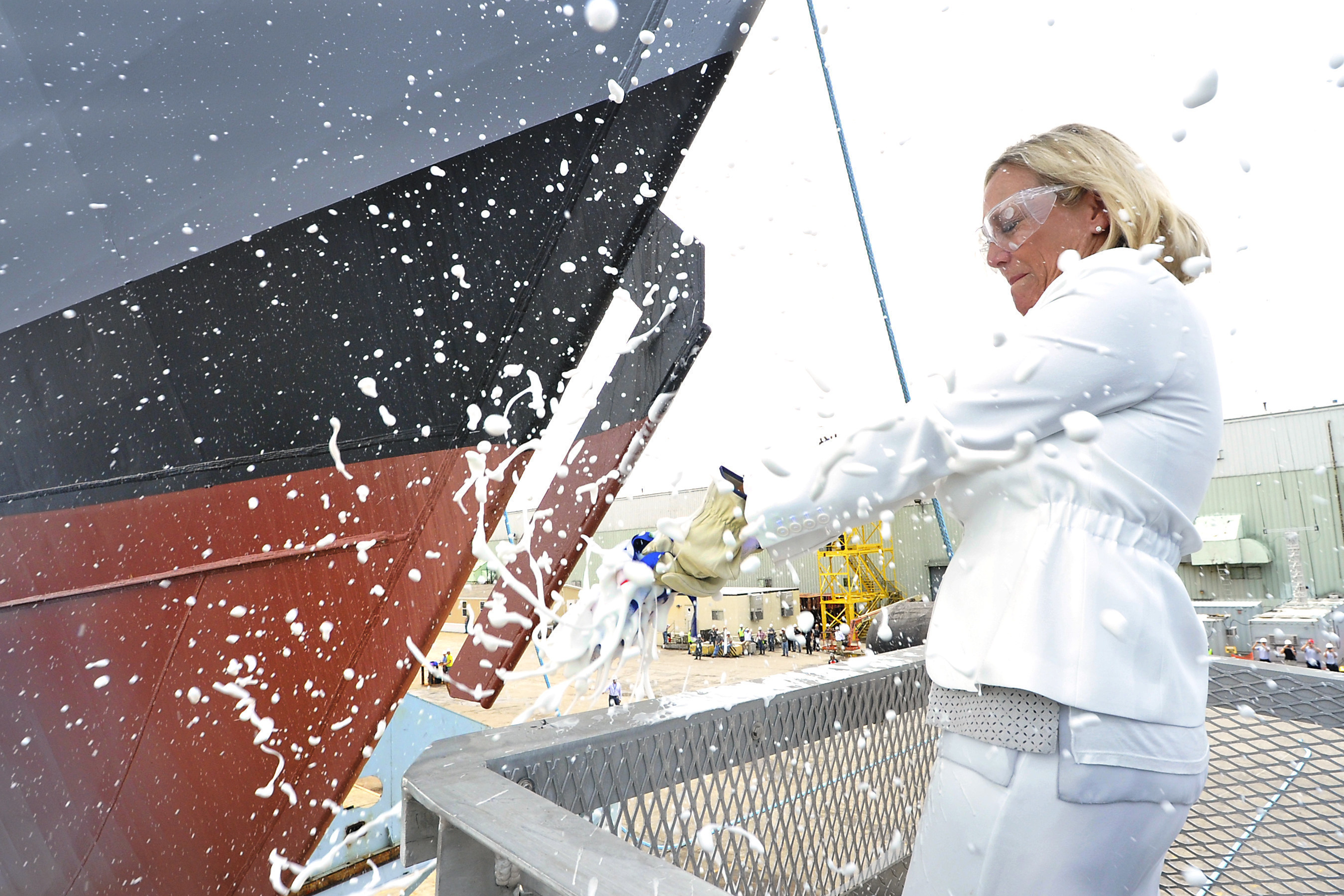 The ninth littoral combat ship, the future USS Little Rock, launched sideways into the Menominee River in Marinette, Wisconsin, on July 18. Ship sponsor Mrs. Janee Bonner conducted the time-honored tradition of christening the ship by smashing a bottle of champagne across the bow.