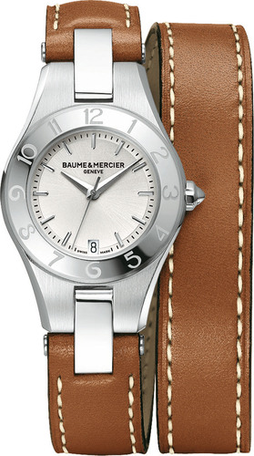 Baume & Mercier Announces Launch of E-Boutique on their US Website. The Linea 10036 featured here in light brown calfskin. Available at http://www.baume-et-mercier.com/en-us/collection-linea.  (PRNewsFoto/Baume & Mercier)