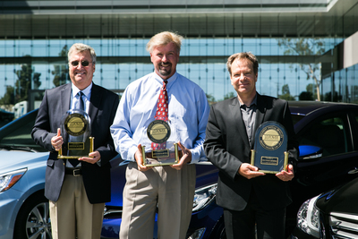 FOUNTAIN VALLEY, Calif., June 18, 2014 - J.D. Power's Senior Director of Global Automotive, Robert Neis (left) presented David Zuchowski (middle), president and chief executive officer, Hyundai Motor America and Gradu Mircea (right), director of quality with three J.D. Power 2014 U.S. Initial Quality Study(SM) (IQS) model awards today. The 2014 Genesis, Elantra and Accent pictured here received the highest award for initial quality in their respective segments. Hyundai ranked fourth overall in initial quality, climbing six spots from last year, and was the highest-ranked non-premium brand. (PRNewsFoto/Hyundai Motor America)