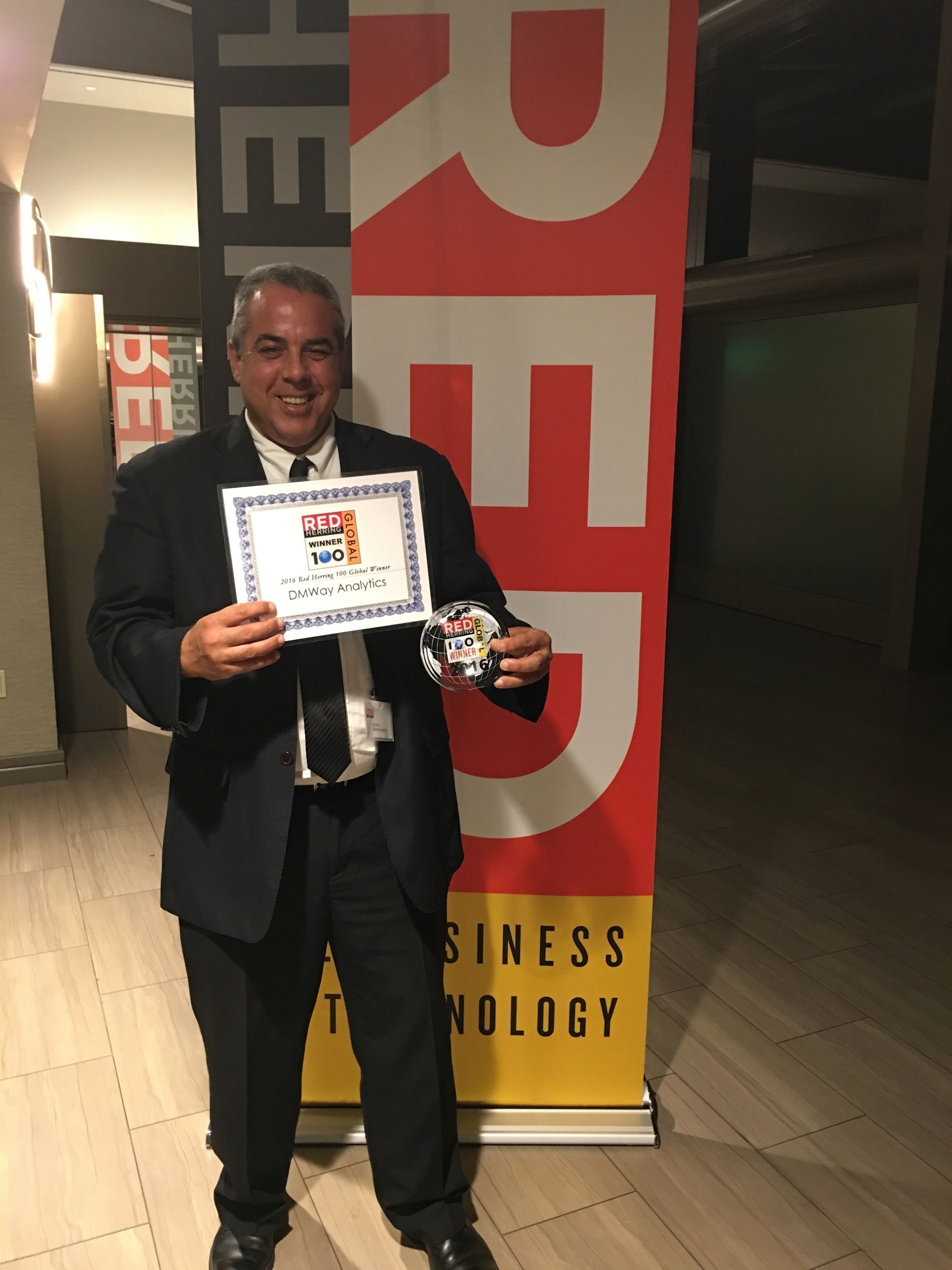 Marina Del Rey, California, Gil Nizri, CEO of DMWay with the Red Herring Award