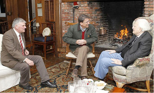 North Carolina Gov. Pat McCrory (center) visited with evangelist Billy Graham, 94, and his son, Franklin (left), on March 1, 2013, in Graham's mountain home in Montreat.  (PRNewsFoto/Billy Graham Evangelistic Association)