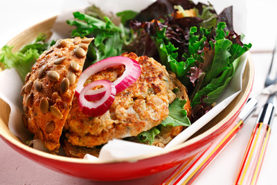 Salmon Quinoa Patties are a simple and delicious way to incorporate a whole grain and a lean protein in your next meal. Find out more about CanolaInfo's top 10 pantry essentials at CanolaInfo.org.