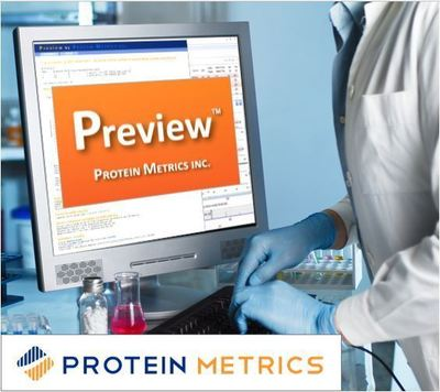 Protein Metrics Preview(TM) software now broadly available as freeware to the proteomics and biopharmaceutical communities. (PRNewsFoto/Protein Metrics, Inc.)