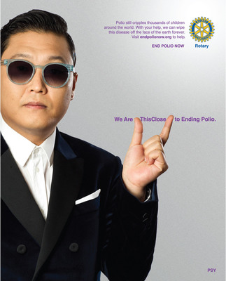 Psy signs on as Rotary celebrity ambassador for polio eradication.  (PRNewsFoto/Rotary International)