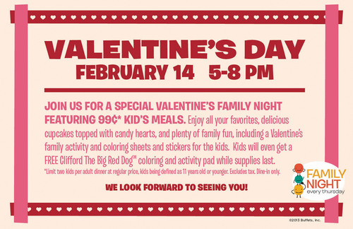 Ryan's, HomeTown Buffet, and Old Country Buffet celebrate love for families with a Family Night Date Night on Valentine's Day, February 14. All their restaurants are offering fun Valentine's Day-themed activities that families may enjoy together from 5 to 8 pm.  (PRNewsFoto/Buffets, Inc.)