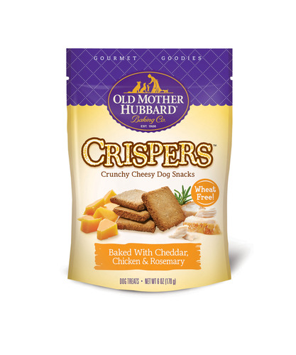 Old Mother Hubbard Gourmet Goodies Crispers are available in Cheddar, Chicken & Rosemary and Parmesan, Bacon & Tomato.  (PRNewsFoto/Old Mother Hubbard)