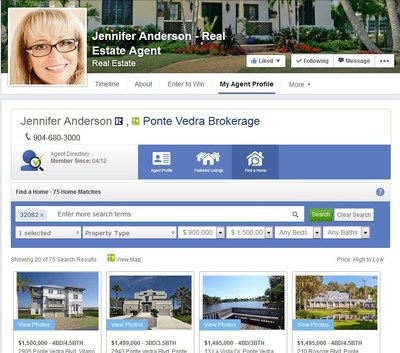 IDX Home Search on an agent's Facebook page (PRNewsFoto/N-Play)