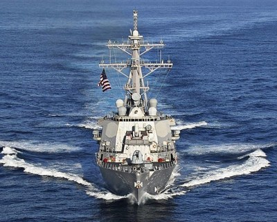 In a test in the Pacific Ocean, the USS John Paul Jones (shown here) used Aegis Baseline 9.C1 to detect and track a ballistic missile target. Photo courtesy U.S. Navy.