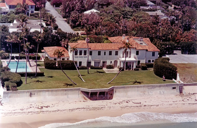 Courtesy of The Preservation Foundation of Palm Beach. The Palm Beach estate of Joseph P. and Rose Kennedy, dubbed the Winter White House during the Kennedy Administration. 153 lots will be sold at auction on January 23 from the home where John F. Kennedy left for war, recovered from his wartime efforts, penned Profiles in Courage, interviewed cabinet members and enjoyed intimate family holidays. The auction will be conducted by Leslie Hindman Auctioneers in Palm Beach.