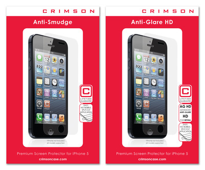 Crimson Anti-Smudge and Anti-Glare HD Screen Protectors for iPhone 5.  (PRNewsFoto/Crimson USA)