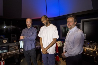 Snoop Dogg in his Beach City Music recording and media complex, with Westlake Pro CEO George Adjieff (right), and CTO Jonathan Deans (left). Photo credit: Jukka Montonen