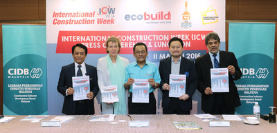 (From left) Senior general manager for technology management Datuk Ir Elias Ismail, UBM Asean director for business development Eliane Van Doorn, CIDB chief executive Dato Ir Ahmad 'Asri Abdul Hamid, Master Builders Association Malaysia president Matthew Tee and Institution of Engineers Malaysia vice-president Gopal Narian Kutty during the Ecobuild & ICW press conference in Kuala Lumpur