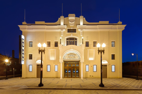The exterior of The Howard Theatre, the historic entertainment venue opening after a 32-year hiatus and a $29 ...
