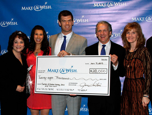 Sartori Cheese Donates $28,000 to the Make-A-Wish Foundation. In this picture Mason Crosby and wife Molly along with Jim Sartori and wife Jan proudly present Patti Gorsky of Make-A-Wish with the check.  (PRNewsFoto/Sartori Cheese)
