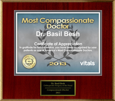 Patients Honor Dr. Basil R. Besh for Vitals Compassionate Doctor Award