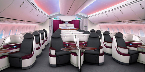 Qatar Airways' new Boeing 787 seats will make their long-haul debut on the Doha - London Heathrow route this summer.  (PRNewsFoto/Qatar Airways)