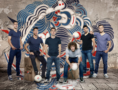 "Pepsi unveiled its global superstar football squad as part of the 2014 Pepsi Football campaign, inspiring fans the world over to ""Live For Now."" The global team, pictured in front of artwork by Brazilian street artist AKN, is: (from left to right) Robin van Persie, Sergio Ramos, Leo Messi, David Luiz, Sergio Aguero and Jack Wilshere. Credit: PepsiCo.  (PRNewsFoto/PepsiCo)"