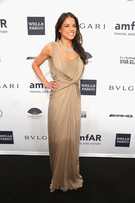 Actress Michelle Rodriguez Wears AVAKIAN At The amfAR Gala New York 2014