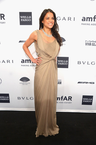 Actress Michelle Rodriguez Wears AVAKIAN At The amfAR Gala New York 2014. (PRNewsFoto/AVAKIAN) ...