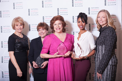 2016 Women Making History Awards honorees(l-r) Joan Bradley Wages, NWHM CEO and President; Honorees Ann Veneman, first female secretary of the U.S. Department of Agriculture, Christine Walevska, the only living female master musician and Aesha Ash, one of thefirst black ballerinas for the New York City Ballet and founder of The Swan Dreams Project and Susan Whiting, NWHM Chair.