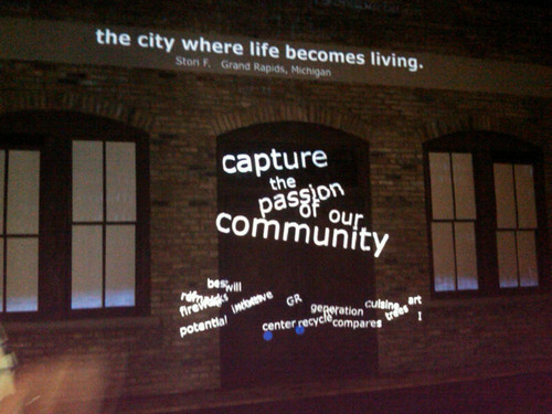 The interactive experience showcasing the six-word entries from the My Grand Rapids in Six Words (MyGR6) ...