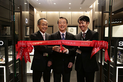 March 2nd 2016 (LR) The Consul-General of New South Wales, consulate of Japan Mr Masato Takaoka, Seiko Watch Corporation COO Hirohiko Umemoto and Managing Director of Seiko Australia Toru Koizumi cutting the ribbon at the Seiko first boutique in Australia launch. Photographer: Adam Yip